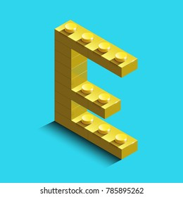 Realistic  gold 3d isometric letter E of the alphabet from constructor bricks. Yellow 3d isometric plastic letter from the building blocks. Colorful character of alphabet letter font.