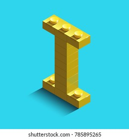Realistic  gold 3d isometric letter I of the alphabet from constructor bricks. Yellow 3d isometric plastic letter from the building blocks. Colorful character of alphabet letter font.