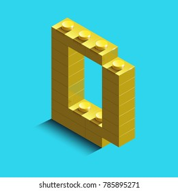 Realistic  gold 3d isometric letter D of the alphabet from constructor lego bricks. Yellow 3d isometric plastic letter from the building blocks. Colorful character of alphabet letter font.Lego letter