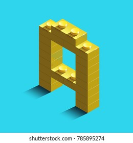 Realistic gold 3d isometric letter A of the alphabet from constructor lego bricks. Yellow 3d isometric plastic letter from the building blocks. Colorful character of alphabet letter font. Lego letter