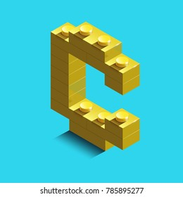 Realistic  gold 3d isometric letter C of the alphabet from constructor bricks. Yellow 3d isometric plastic letter from the building blocks. Colorful character of alphabet letter font.
