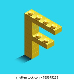 Realistic  gold 3d isometric letter F of the alphabet from constructor bricks. Yellow 3d isometric plastic letter from the building blocks. Colorful character of alphabet letter font.