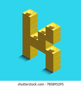 Realistic  gold 3d isometric letter K of the alphabet from constructor bricks. Yellow 3d isometric plastic letter from the building blocks. Colorful character of alphabet letter font.