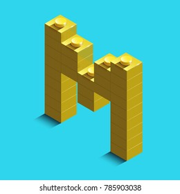 Realistic gold 3d isometric letter M of the alphabet from constructor lego bricks. Yellow 3d isometric plastic letter from the building blocks. Colorful character of alphabet letter font. lego letter
