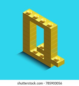 Realistic gold 3d isometric letter Q of the alphabet from constructor lego bricks. Yellow 3d isometric plastic letter from the building blocks. Colorful character of alphabet letter font. lego letter