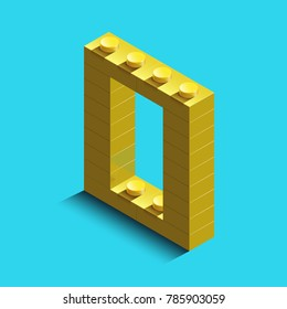 Realistic  gold 3d isometric letter O of the alphabet from constructor bricks. Yellow 3d isometric plastic letter from the building blocks. Colorful character of alphabet letter font. lego letter