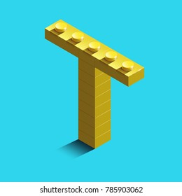 Realistic  gold 3d isometric letter T of the alphabet from constructor bricks. Yellow 3d isometric plastic letter from the building blocks. Colorful character of alphabet letter font. lego letter