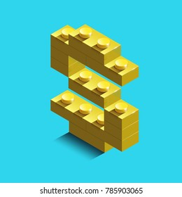 Realistic  gold 3d isometric letter S of the alphabet from constructor bricks. Yellow 3d isometric plastic letter from the building blocks. Colorful character of alphabet letter font. lego letter