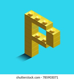 Realistic  gold 3d isometric letter P of the alphabet from constructor bricks. Yellow 3d isometric plastic letter from the building blocks. Colorful character of alphabet letter font.