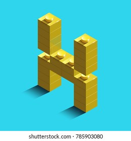 Realistic  gold 3d isometric letter X of the alphabet from constructor bricks. Yellow 3d isometric plastic letter from the building blocks. Colorful character of alphabet letter font. lego letter