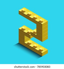 Realistic  gold 3d isometric letter Z of the alphabet from constructor bricks. Yellow 3d isometric plastic letter from the building blocks. Colorful character of alphabet letter font.