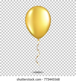 Realistic gold balloon, isolated.