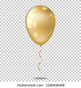 Realistic gold balloon, isolated on transparent background.
