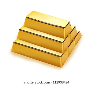 Realistic gold bars stack on white background