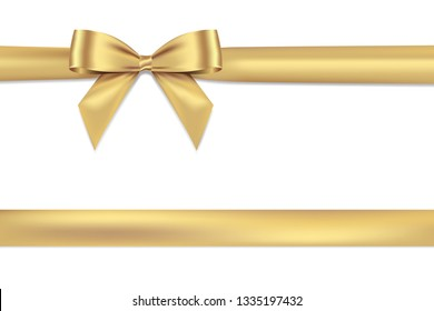 Realistic Gold bow shiny satin and ribbon horizontal line with shadow for decorate your wedding card,website or gift card,vector EPS10 isolated on white background.