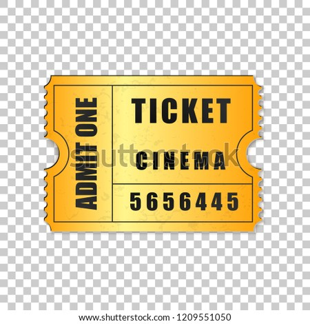 realistic gold cinema ticket isolated object stock vector royalty