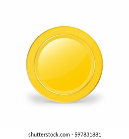 Realistic gold coin. 3d, vector illustration of brilliant coin