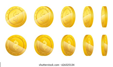 Realistic gold coins with different angles. 3D gold coins set with front and back side. Vector illustration isolated on white background