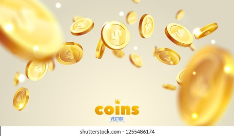 Realistic Gold coins explosion