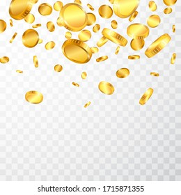 Realistic gold coins explosion isolated on transparent background. Vector illustration.