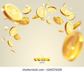Realistic Gold coins explosion. For your online casino design