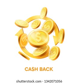 Realistic Gold coins explosion.Cash back. coins in different positions. Isolated on white background