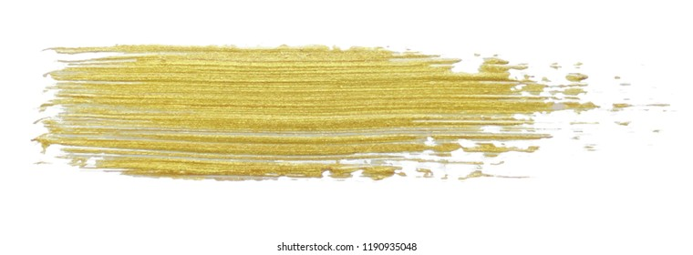 Realistic gold glitter painting brush. Hand drawing vector illustration.