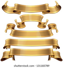 Realistic Gold Glossy vector ribbons with a stripe for your design project