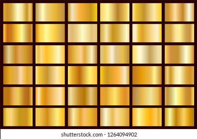 Realistic gold gradient texture pack. Shiny golden metal foil gradient set. Vector illustration