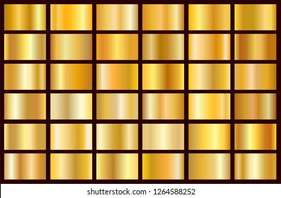 Realistic gold gradient texture pack. Shiny golden metal foil gradient set. Vector illustration