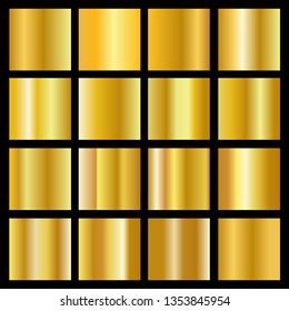 Realistic gold gradient texture pack. Shiny golden metal foil gradient set