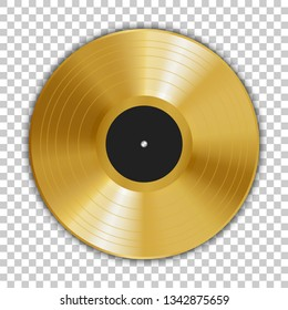 Realistic gold gramophone vinyl LP record with shadow. 12 inch. Golden music disc award. Old technology, retro design, vector art image illustration, template isolated on transparent background eps10.