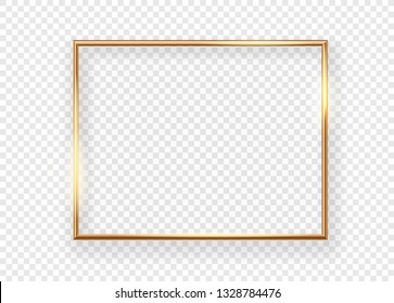 Realistic gold horizontal shining photoframe on a transparent background