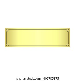 Realistic Gold Metal Plate, Vector.