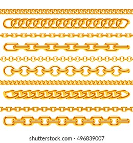 Realistic gold necklace chains vector brushes set. Golden metal chain link for decoration illustration