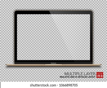Realistic Gold Notebook with Transparent Screen Isolated. 12 inch Laptop. Open Display. Can Use for Project, Presentation. Blank Device Mock Up. Separate Groups and Layers. Easily Editable Vector.