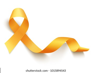 Realistic gold ribbon, childhood cancer awareness symbol, vector illustration
