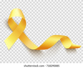 Realistic gold ribbon, childhood cancer awareness symbol, vector illustration