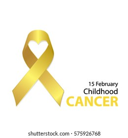 Realistic gold ribbon with heart shape center, childhood cancer awareness symbol, vector illustration
