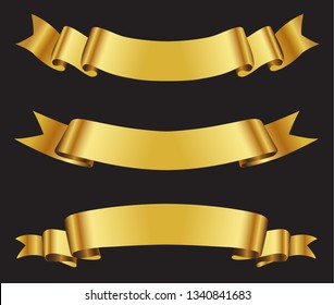 Realistic gold ribbons.Golden ribbon banners.