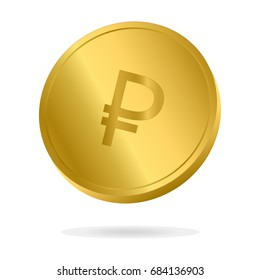 Realistic Gold Russian Ruble coin vector illustration. Money currency coin.