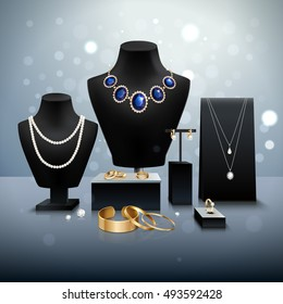 Realistic gold and silver jewelry display on black mannequins and stands on grey surface and background with bokeh vector illustration
