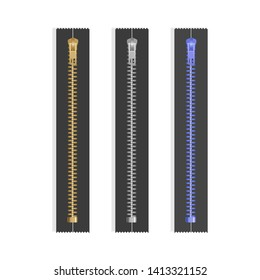 Realistic gold silver zipper, closed zip pullers. Metallic zippers. Garment components zippered fabric accessories, clothing clasp of bright colors on white background, Vector EPS 10 illustration