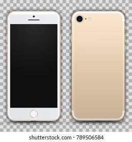 Realistic Gold Smartphone with Blank Screen Isolated on Background. Front and Back View For Print, Web, Application. High Detailed Device Mockup Separate Groups and Layers. Easily Editable Vector.