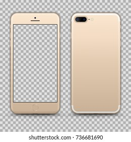 Realistic Gold Smartphone isolated on Transparent Background. Front and Back View For Print, Web, Application. High Detailed. Device Mockup Separate Groups and Layers. Easily Editable Vector.