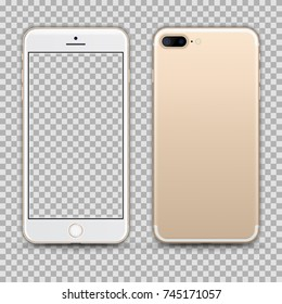 Realistic Gold Smartphone with Transparent Screen Isolated. Front and Back Display View For Print, Web, Application. High Detailed Device Mockup Separate Groups and Layers. Easily Editable Vector.