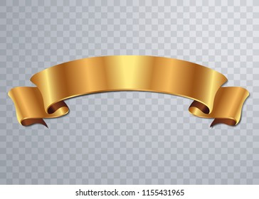 Realistic Gold Vector Ribbon , banner, with stitch detailing for your design project