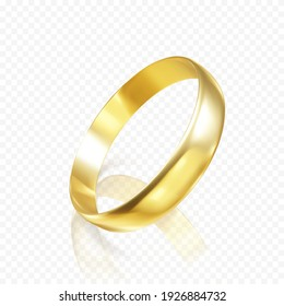 Realistic gold wedding ring. 3D render of golden ring with shadow and reflection. Vector illustration