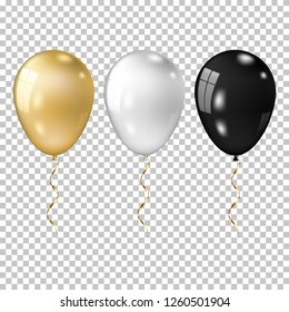 Realistic gold, white and black balloon, isolated on transparent background.