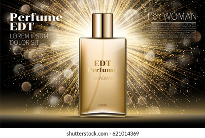 Realistic Gold Woman parfume bottle mockup on dazzling background. Golden bokeh. Contained in Square Glass Mock up. Excellent Advertising. Cosmetic Design Product. 3D Vector Illustration.